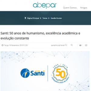 19/11 – Abepar: Santi: 50 Anos De Humanismo, Excelência Acadêmica E Evolução Constante