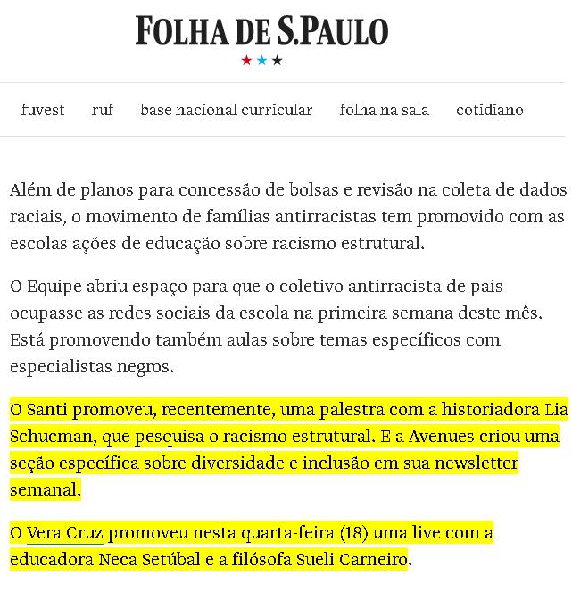 Folha De S. Paulo: 23/11 – Ação é Uma Das Medidas Para Promover Educação Antirracista Em Colégios Privados